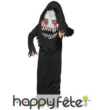 Costume de démon avec visage ensanglanté, enfant