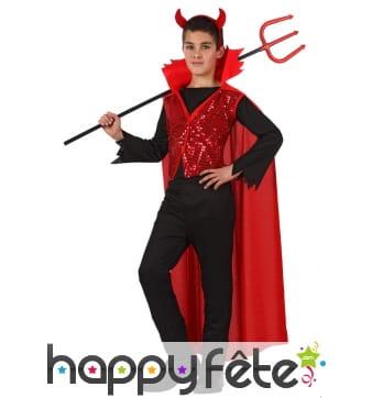 Costume de diable avec cape rouge pour enfant
