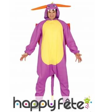Costume de dragon Pokemon violet pour adulte