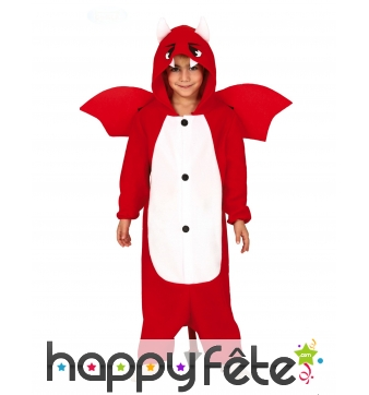Costume de dragon rouge ventre blanc pour enfant