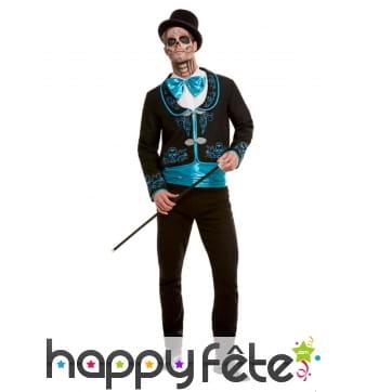 Costume Dia de los Muertos noir turquoise, homme