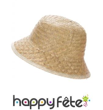 Chapeau d'explorateur en paille beige