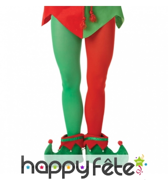 Collants d'elf de Noël pour adulte