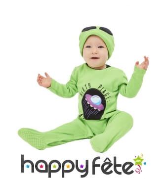Combinaison d'extraterrestre vert pour bébé