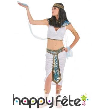 Costume d'égyptienne blanc avec voilages