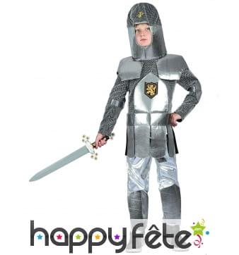 Costume d'enfant chevalier en armure argentée