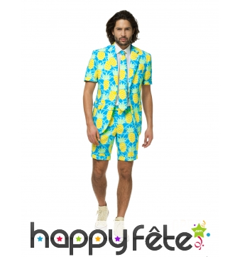 Costume d'été 3 pièces motif ananas pour homme