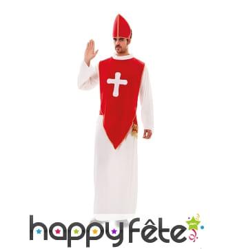 Costume d'Évêque rouge et blanc pour adulte