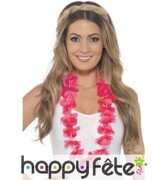 Collier de fleurs rose Hawaïen