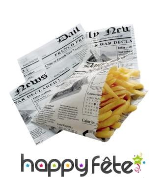 Cornets de frites en papier journal