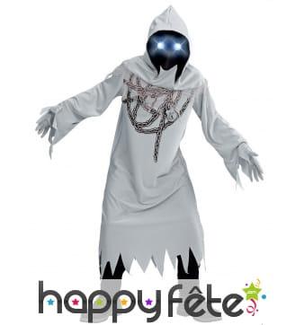 Costume de fantôme avec masque lumineux, enfant