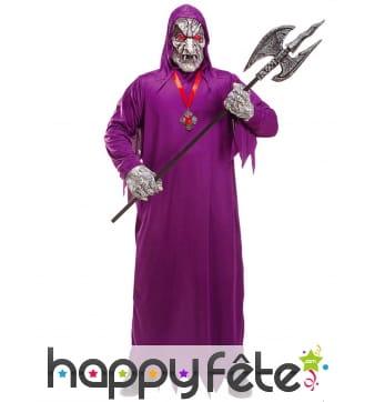 Costume de faucheur démon violet avec masque