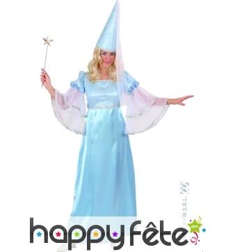 Costume de fée bleue en satin