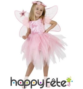 Costume de fée rose avec tulle pour fillette