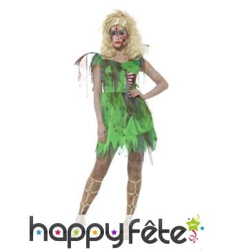 Costume de fée verte zombie