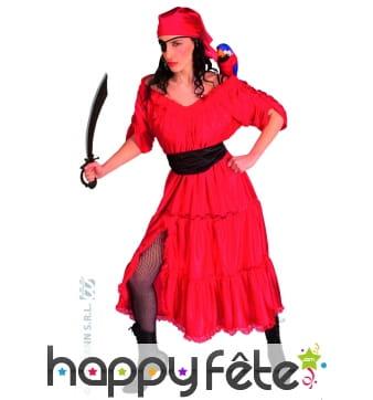 Costume de femme de pirate rouge