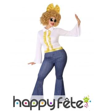 Costume de femme disco blanc doré grande taille