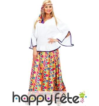 Costume de femme hippie en velours à poids
