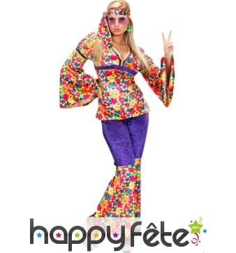 Costume de femme hippie sexy en velours à poids