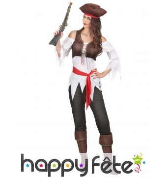 Costume de femme pirate avec corset marron