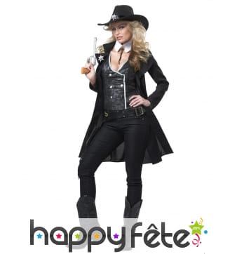 Costume de Femme Sherif manteau mi-long noir