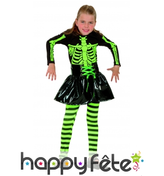 Costume de fillette squelette