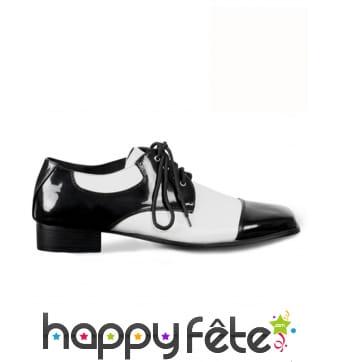 Chaussures de gangster blanche noire pour homme
