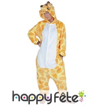 Combinaison de girafe orange et jaune pour adulte