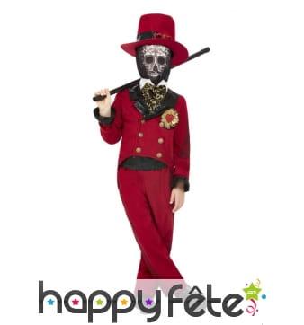 Costume de groom squelette pour garçon, rouge