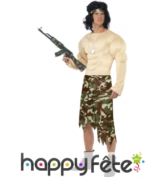 Costume de guerrier muscle rambo