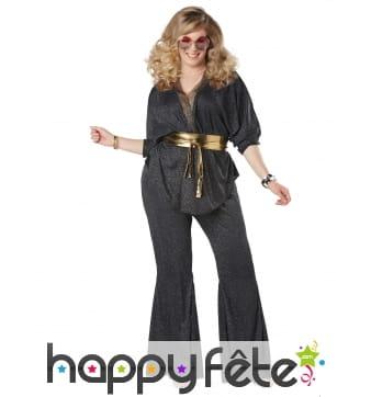 Costume disco grande taille noir pour femme