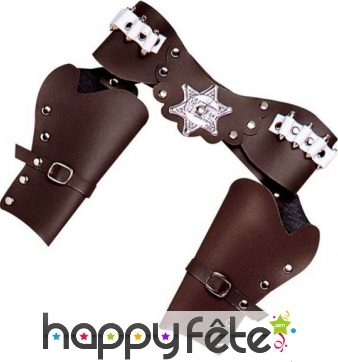 Ceinture double holster marron de cowboy adulte