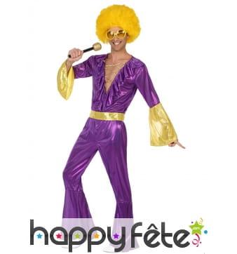 Combinaison disco holographique violet et or