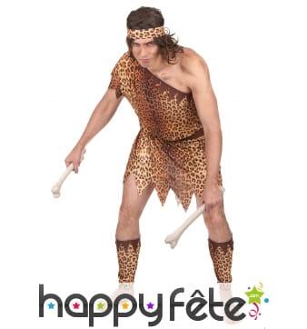 Costume d'homme des cavernes motifs léopard