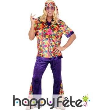 Costume d'homme hippie en velours à poids