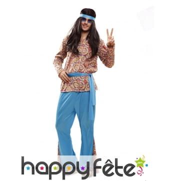 Costume de hippie bleu pour homme