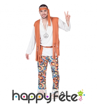 Costume de hippie pour homme, tunique orange