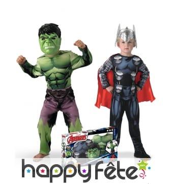 Costumes de Hulk et Thor pour enfant en coffret