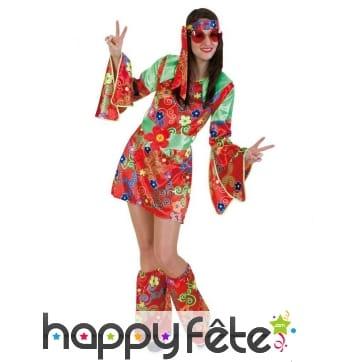 Robe Fleurs Rouges Hippie De À Cosume Courte 2HIDW9E