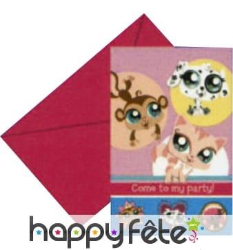 Cartes d'invitation + enveloppes Little Pet Shop