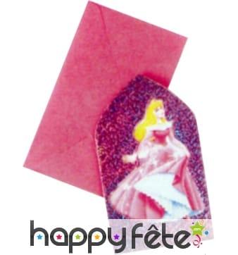 Cartes d'invitation + enveloppes princesse Disney