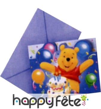 Cartes d'invitation + enveloppes Winnie l'Ourson