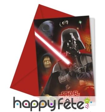 Cartes d'invitation Star Wars et enveloppes