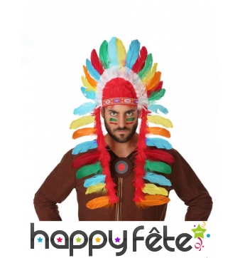 Coiffe d'indien avec plumes colorées pour adulte