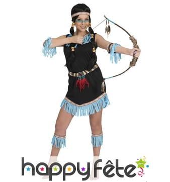 Costume d'indienne avec franges bleues