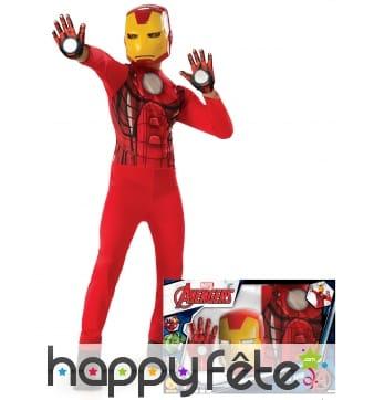 Costume de Iron Man et gants pour enfant, coffret