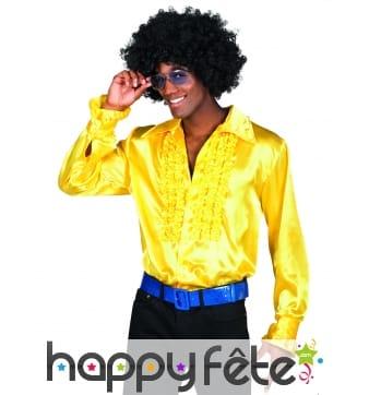 Chemise disco jaune satinée pour homme