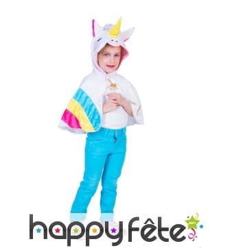 Cape de licorne pour enfant avec capuche