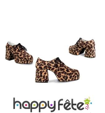 Chaussures disco léopard à talons, pour homme