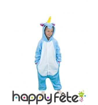 Combinaison de licorne bleue pour enfant